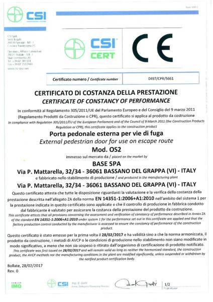 Certificato di costanza della prestazione Porta pedonale esterna per vie di fuga Mod. OS2