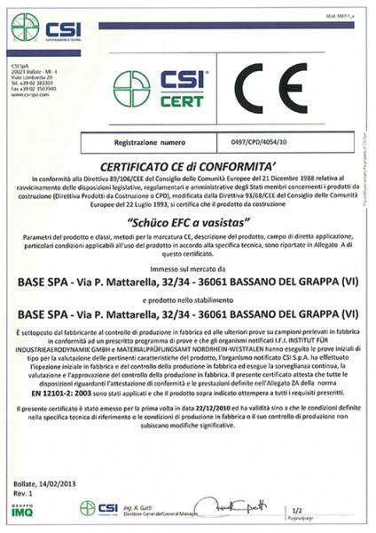 Certificato CE di conformità