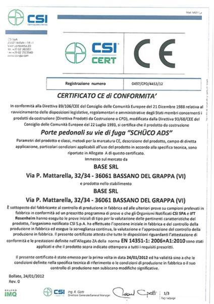 Certificato CE di conformità Porte pedonali su vie di fuga